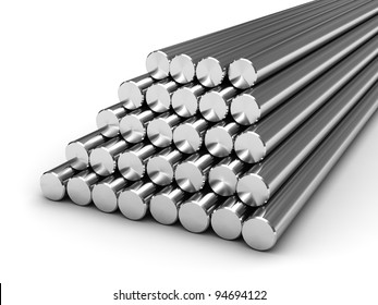 Round steel bars isolated on white background