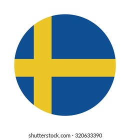 Round sweden flag raster icon isolated, sweden flag button