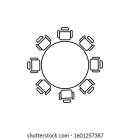 Round table and chairs top view icon isolated on white background