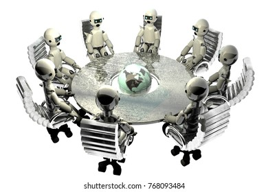 Round table with robots dominating world, 3d rendering