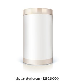 Round tin of packaging for bulk products. Container cylindrical shaped with glossy reflections. Template of blank round tin can for branding. 3D illustration isolated on white background.