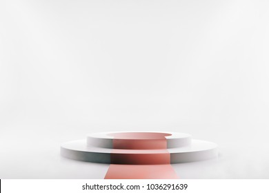 Round two-step Podium with Red Carpet on white isolated background. Product showcase. Shop display. 3d rendering