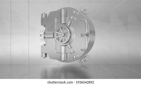 Round vault door bank safe, deposit box. 3d rendering.