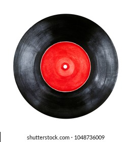 Round vinyl record with red label sketchy watercolour paint. Symbol of listening to the music, creativity, youth, media, disco, entertainment. Hand drawn water color element on white backdrop, cutout.