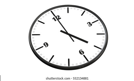 Round wall clock showing five o'clock - isolated on white background - 3d rendering