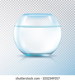 Round walls glass tank fish bowl aquarium filled with clear water realistic image transparent background  illustration