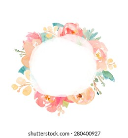Round Watercolor Flower Wreath With Painted Center Texture.