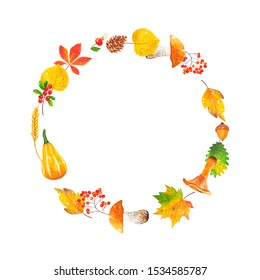 Round watercolor frame of leaves, mushrooms, mountain ash, acorn, pumpkin, wheat, cranberries, rose hips and cones. Autumn wreath for invitation, poster and banner. Autumn time. Harvest festival.