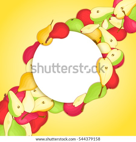 Round white frame on ripe pear diagonal composition background.  card illustration. Delicious fresh and juicy pears whole, peeled piece of half slice leaves seed. appetizing looking
