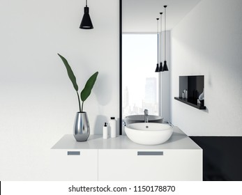 Round white sink standing on a white counter in a stylish bathroom interior with white and black walls. A large mirror. 3d rendering mock up
