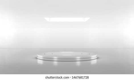 Round white stage podium. Blank product stand. Platform for display. Pedestal for design. 3D rendering.