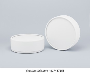 Round white tin, cosmetic box 3d rendering
