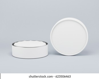 Round white tin, cosmetic white  box 3d rendering