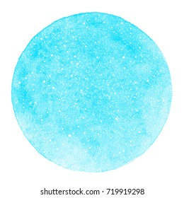 Round winter watercolor background with snow texture and uneven edge. Christmas, New Year template with tiny specks, splashes, flecks, dots, snowflakes. Circle shape. Sky blue watercolour stains.