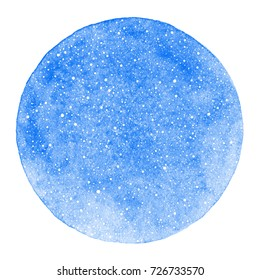 Round winter watercolor background with snow texture and uneven edge. Christmas, New Year template with tiny specks, splashes, flecks, dots, snowflakes. Circle shape. Cobalt blue watercolour stains.