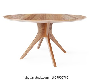 Round wooden retro table. Dining table isolated on white background. Clipping path included. 3D render. 3D illustration.