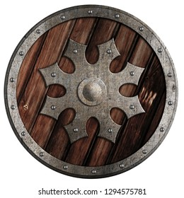 Round wooden shield with metal star isolated 3d illustration