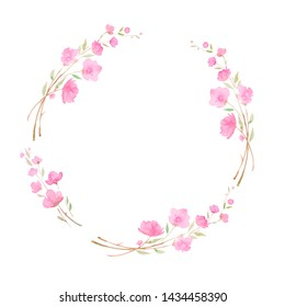 Round wreath, frame with Cherry blossom, sakura branch with pink flowers, watercolor illustration. Hand drawing for the design of invitations, cards, decorations