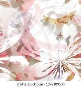 Rounded color watercolor pattern. Abstract circular aquarelle background for surface and textile design. Repeat urban texture with watercolour elements. Modern wallpaper.