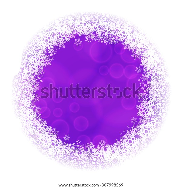 Rounded frame of snowflakes with violet blurred backdrop. Raster version