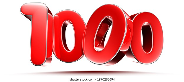 Rounded red numbers 1000 on white background 3D illustration with clipping path