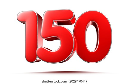 Rounded red numbers 150 on white background 3D illustration with clipping path