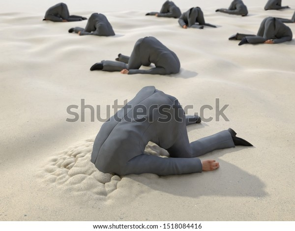 roup of businessmen hides their heads in the sand, 3d illustration