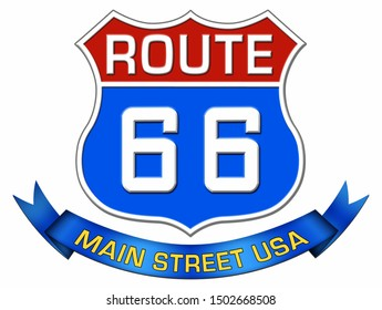 Route 66 shield, blue ribbon with text of Main Street U.S.A.