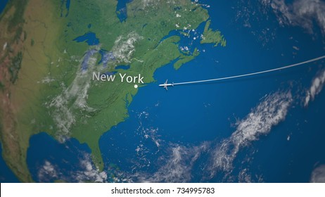 Route of commercial airplane flying from to New York on the Earth globe. International trip 3D rendering