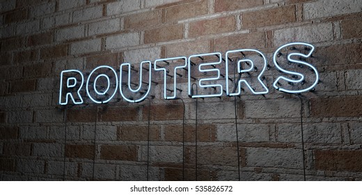 ROUTERS - Glowing Neon Sign on stonework wall - 3D rendered royalty free stock illustration.  Can be used for online banner ads and direct mailers.
