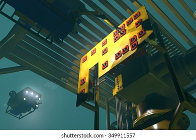 ROV manipulating the controls on subsea oil and gas equipment under a steel cage protection structure. Fictitious equipment.  Murky water to emphasize depth, blurred image for dramatic effect.