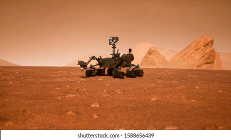 A Rover during a dust storm on the red planet. Curiosity Rover on Mars. 3D Rendering