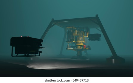 ROVs inspecting subsea oil and gas equipment steel cage protection structure. Fictitious protection structure, oil and gas equipment. Murky water to emphasize depth, blurred image for dramatic effect.