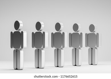Row of 3d gray human figures standing over a gray background on a white floor. Concept of choice, individuality and human relations. 3d rendering mock up