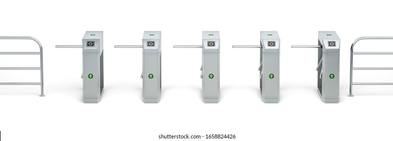 Row with automatic turnstiles on white background, 3D illustration