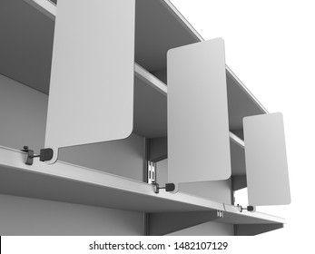 Row Of Banners Attached To Supermarket Shelves. 3D rendering