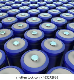 Row of blue li-ion battery 3d render