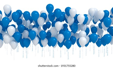 Row of blue and white party balloons isolated on white background. 3D render illustration