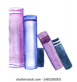 Row of books spines isolated on white background. Watercolor abstract image of books leaning against each other in blue and purple shades. Hand drawn illustration on textured paper