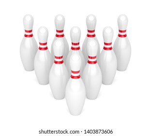 Row of bowling pins on white background, 3D illustration