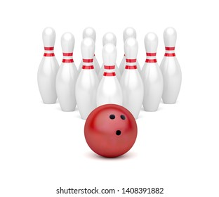 Row of bowling pins and red bowling ball, 3D illustration