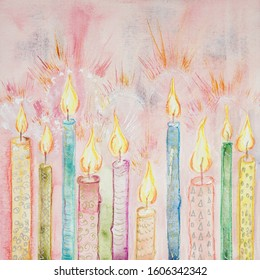 Row of bright shining candles. The dabbing technique near the edges gives a soft focus effect due to the altered surface roughness of the paper.