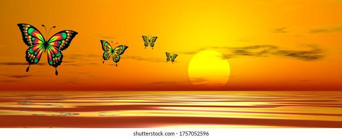 Rangée de papillons volant sur l'océan jusqu'au soleil au coucher du soleil - rendu 3D