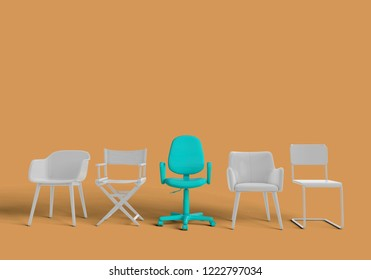 Row of chairs with one odd one out. Job opportunity. Business leadership. recruitment. 3D rendering
