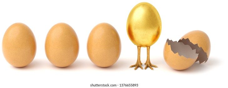 Row of chicken eggs. One golden egg with golden chicken feet and one Broken Egg Shell. isolated on a white background. 3d rendering.