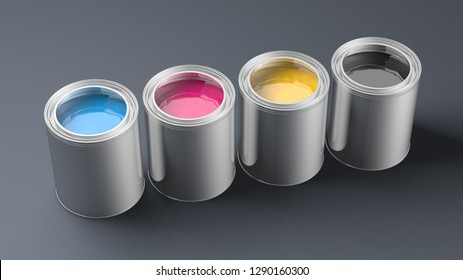 Row of CMYK Ink Cans - 3d Rendering