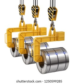 Row of coil lifter with steel coil and crane hook isolated on white background - 3D illustration