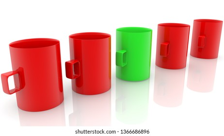 Row of cups in green and red colors.3d illustration