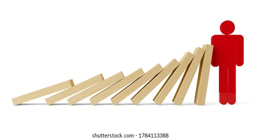 Row of falling wooden domino stones stopped by red figure over white background, risk management, intervene or prevention concept, 3D illustration