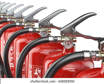 Row of fire extinguishers isolated on white background.  3d illustration